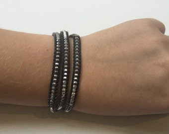 Silver and black leather beaded wrap bracelet