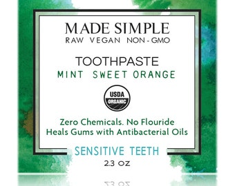 Mint Sweet Orange Toothpaste USDA Certified Organic Raw Vegan Non-GMO Handmade by Made Simple Skin Care