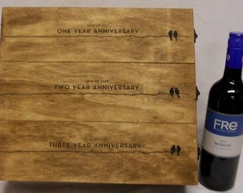 3 Bottle Wedding Wine Box Anniversary Personalized Champagne Couple