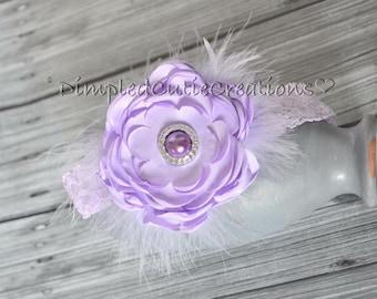 Purple Peony  Lace Headband