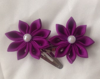 Purple kanzashi flower hair clips, back to school, wedding, christening, party, girls hair accessories