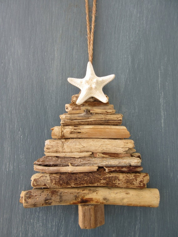 Driftwood christmas tree ornament small by beachwooddreams for How to make a hanging driftwood christmas tree
