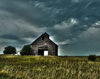 Barn, photograph, farmhouse decor, old, storm clouds farm