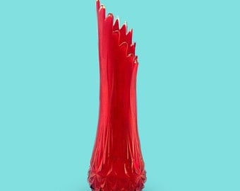 "1960's L.E. Smith 22"" Fiery RED Swung Vase"