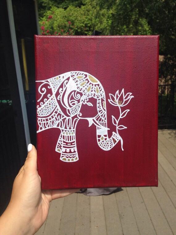 Items Similar To Bohemian Elephant Canvas On Etsy