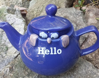 Vintage Porcelain Tea Kettle/Teapot - HELLO - England