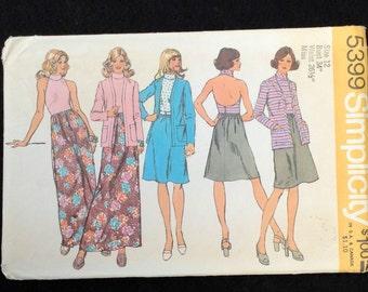 1972 Simplicity 5399 Sewing Pattern / Short Halter Dress / Long Halter Dress / Cardigan Jacket / Size 12