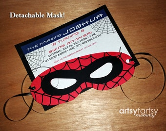The Amazing Spiderman Invitation - Detachable Masks - 10ct