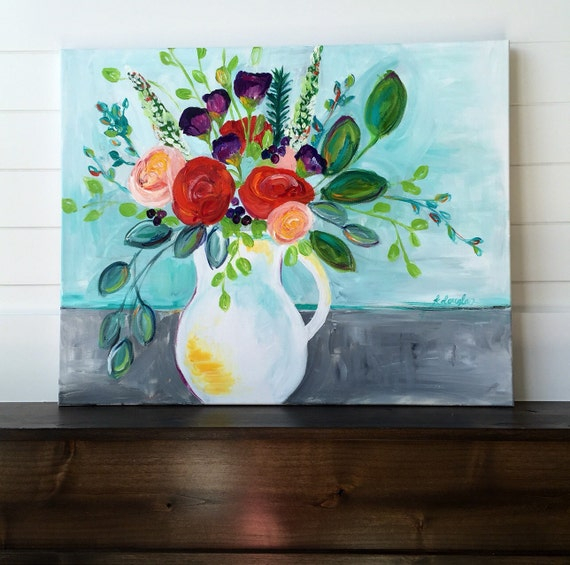 Original acrylic floral 24x30 in