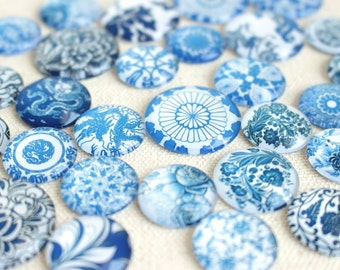 Mixed Size Blue and White China Glass Magnet Set, Super Strong Glass Magnets, Marble Glass Magnet, Porcelain China Pattern, Unique Magnets