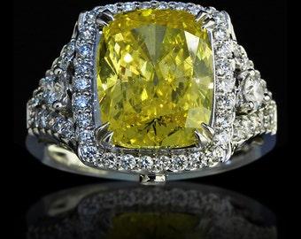 5.78 tcw Cushion Cut Fancy Yellow Diamond Engagement Ring - BAJ-94