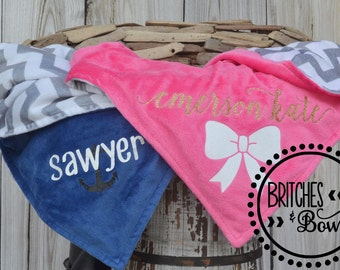 Personalization on Blanket with Chevron Pattern