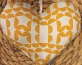 Organic Fabric Heart Ornament, 9x7.5, Yellow, Christmas Ornament, Fabric Ornament, Soft Ornament, Modern Design, Organic Cotton, Colorful