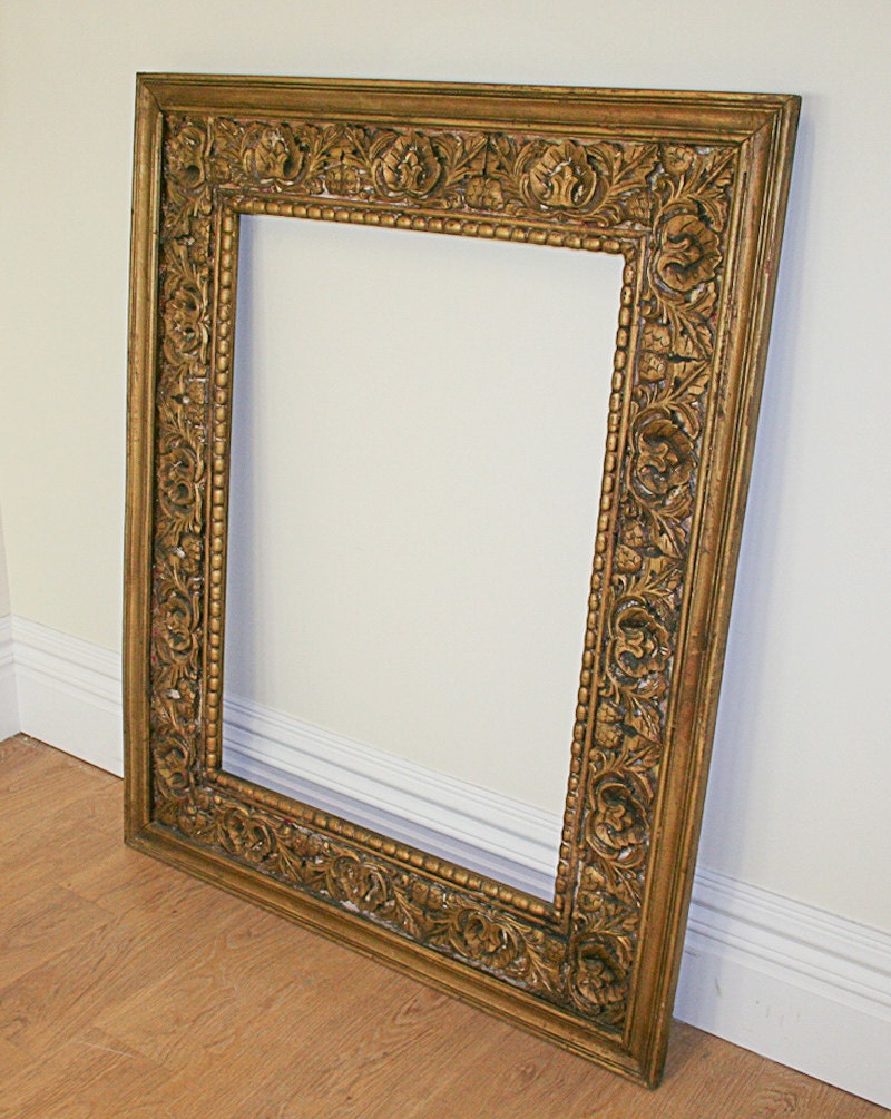 Large antique style carved ornate vintage gilt wood mirror for Old style mirror