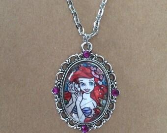 Handmade princess Ariel cameo necklace, Disney cameo necklace