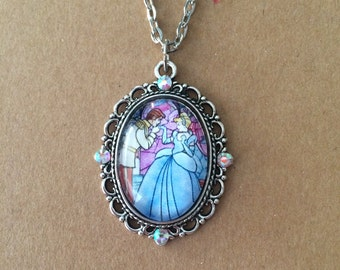 Stained glass Cinderella cameo necklace, Disney cameo necklace