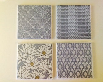 Blue Mixed Patterned Four Coasters