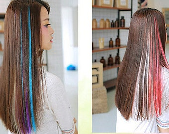 Clip on colorful hair piece, synthetic straight hair extensions highlight. 21 inches - 55 cm, Red
