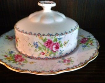 royal albert petit point round covered butter/cheese dish