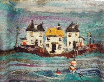 Textile Picture 'At The Harbour' in distressed wooden frame by Adele Froude