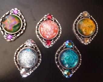 Beautiful bindis with dichroic glass and rhinestones