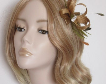 METALLIC GOLD and OLIVE Fascinator,Made with sinamay,Crystal detail,  hackle and coque feather