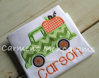 Personalized Appliqued Truck with Appliqued Pumpkin on Tshirt or Bodysuit