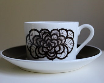 Swedish Gustavsberg ROSENBRUN Coffee Cup and Saucer, Designed By Britt-Louise Sundell  Vintage Scandinavian Design