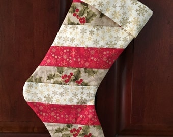 Snowflakes and Holly Quilted Christmas Stocking