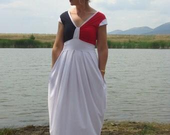 SUMMER dress/  Plus size dress/ White dress/  Kaftan /Long dress/ Day dress with pockets / All sizes available Us Uk Eu