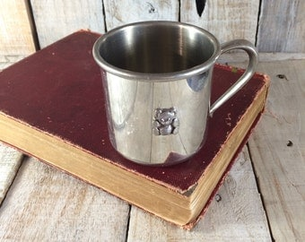 Pewter Cup - Meredith Cup - Teddy Bear Cup - Baby Cup - Engraved Meredith
