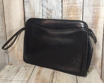Anne Klein Handbags - Black Leather Clutch Purses - Wristlets - Large Wristlet Wallets - Anne Klein Bags, Leather Handbag, Oversized Handbag
