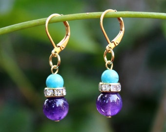 Turquoise/Amethyst Multi Gemstone Cluster Earring.Crystal.Gold.Dangle.Drop.Pastel.Bridal.Mother's.Birthday.Valentine.Summer.Gift.Handmade.