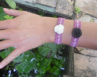 Raspberry and pink lace bracelets