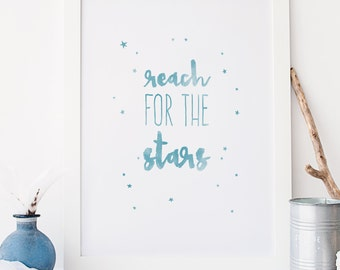 Reach for the stars Typography Blue Nursery Wall Art Print Kids Decor