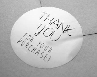 "100 x SILVER FOIL ""Thank You for your purchasing"" Shipping Labels Stickers Seals / envelope seals"