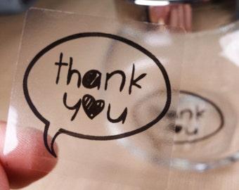 "60 pcs Transparent ""Thank You"" Shipping Labels Scrapbook Stickers Seals #10"