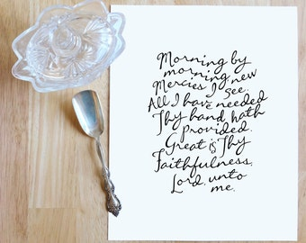 "Great Is Thy Faithfulness (Lamentations 3:22-23)  |  8x10"" Calligraphy Print, Art Print, Hymn Print, Hymn Lyrics, Gallery Wall Print"