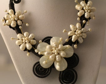 Flower Pearl Necklace, boho, ethnic, thailand wax rope