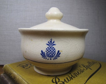 Blue Pineapple Covered Sugar Dish