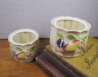 Raised Fruit Motif Small Sugar Dishes - Two (2)
