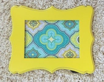memo board - 5x7 yellow magnet board - magnetic board - office decor - yellow and teal decor - teacher gifts
