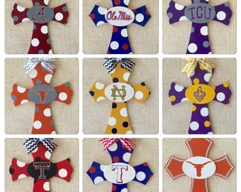 Team themed crosses - hand painted decorative cross - College - University - NFL - Football - Baseball