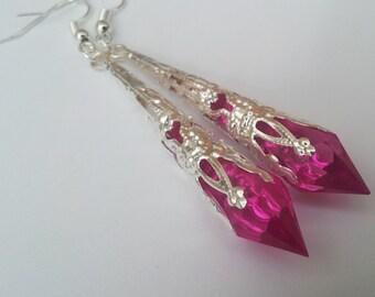 Hot Pink Earrings , Pink Teardrop Earrings , Silver Earrings , Filigree Earrings , Handmade Jewelry , Handmade Jewellery , Cute Gift