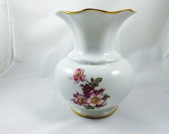Gerold Porzellan Tettau Bavaria Wild Roses Large Vase, Made in West Germany, Gerold Porcelain Vase, Table Center Vase, Table Decoration