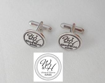 Logo Engraved Cufflinks,Wedding Cufflinks for Groom,Mens Cufflinks,Silver Monogram Cufflinks,Personalized Circle Cufflinks,Groomsmen Gift