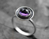 amethyst ring. dark purple. antique oxidized sterling silver. smooth gemstone. bowl jewelry. february birthstone (bowl of plums. violet)