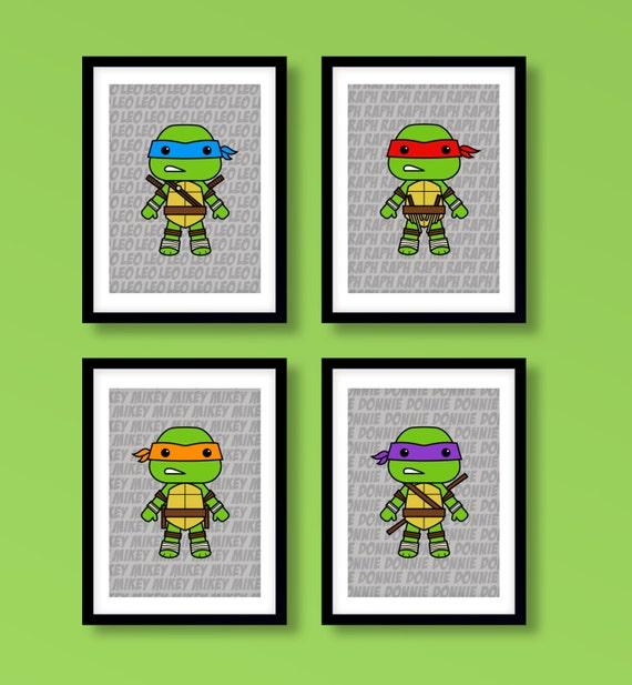 Teenage Mutant Ninja Turtles Inspired Wall Art Boys Wall