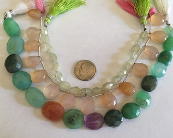 Multi gems, Chrysophrase, Agate, and Prehnite beads