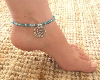 Ocean waves anklet - Mixed blue seed beaded anklet with silvertone wave charm